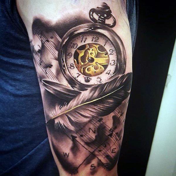 Amazing Angel Feather And Blazing Pocket Watch Tattoo