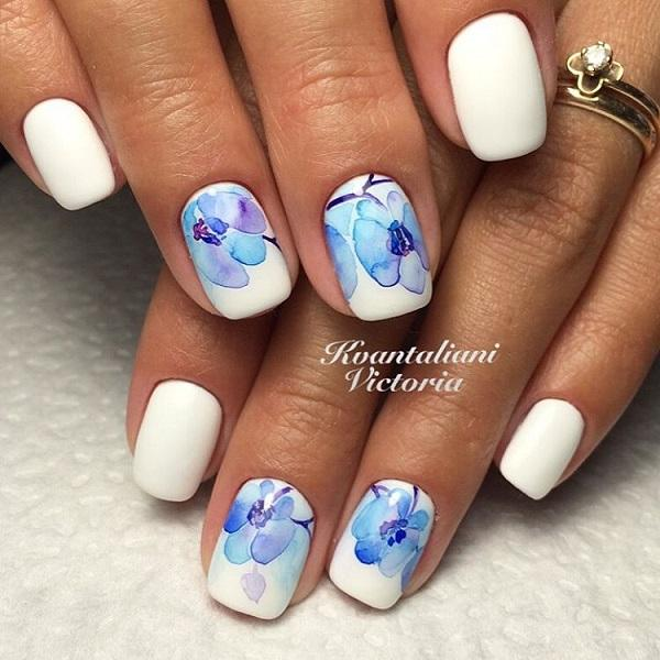 Blue and White Elegant Nail Art Design. More like blue flowers, this ...
