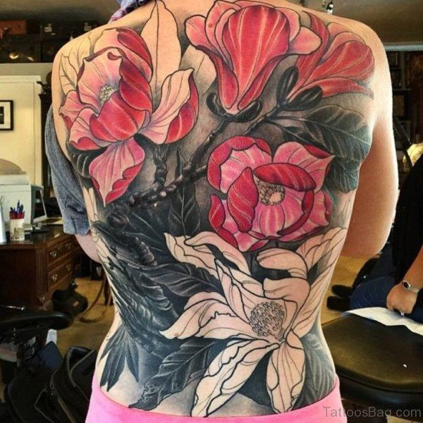 Black Pink And White Magnolia Tattoo For Full Back Get Your Back