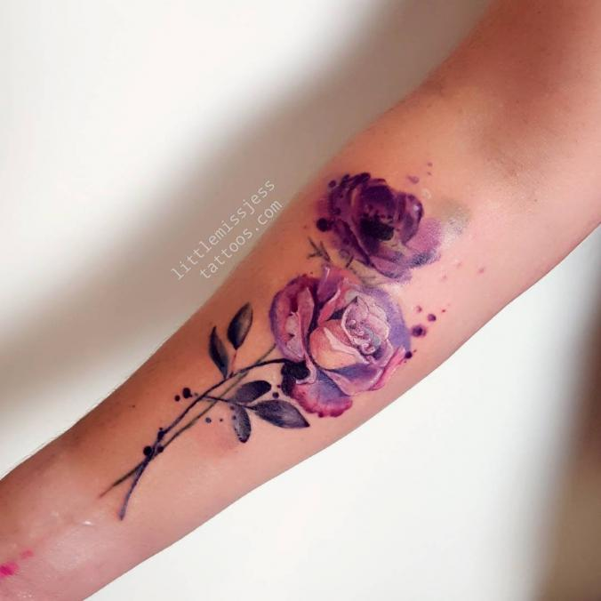 watercolor flower tattoo. Black Bedroom Furniture Sets. Home Design Ideas